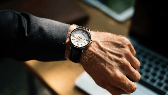 watch on a mans wrist