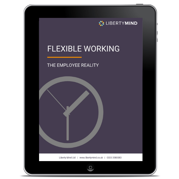 IPad showing the cover of Liberty Mind's flexible working whitepaper.