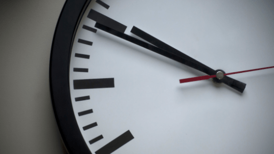 Large clock face.