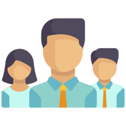 A graphic illustration of three people representing employees in a company.