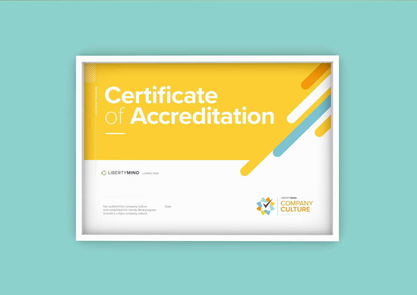 Image of the Liberty Mind Company Culture Accreditation certificate.