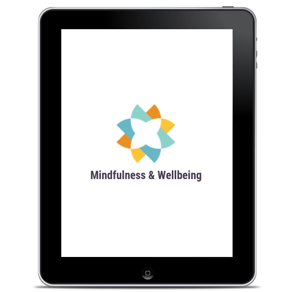 An IPad showing the cover of Liberty Mind's mindfulness at work book.