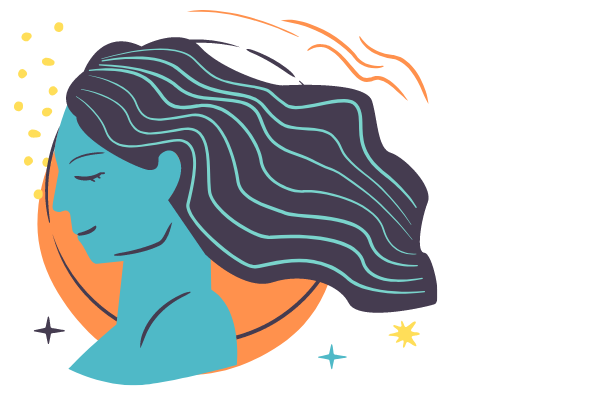 illustration of woman with her eyes closed
