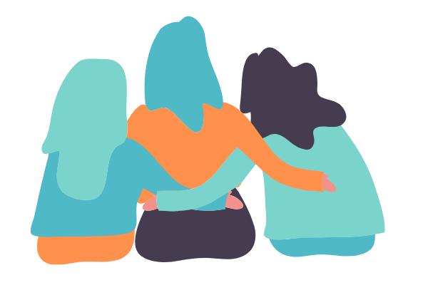 illustration of women hugging each other