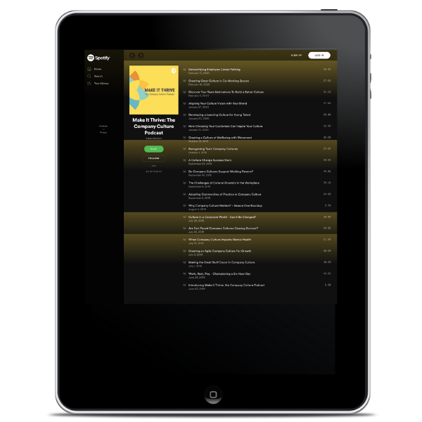 ipad with spotify showing the company culture podcast playlist