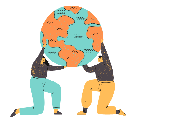 graphic of two people holding the world