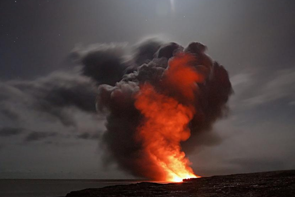 photo of a volcano illustrating a disaster situation