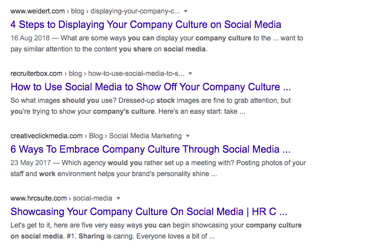 screen shots about promoting your company culture