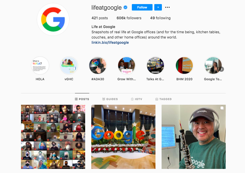 A screenshot of Google promoting their company culture on instagram