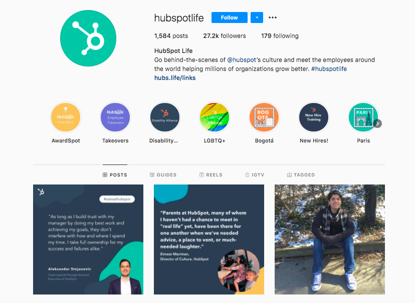 A screenshot of hubspot promoting their company culture on instagram