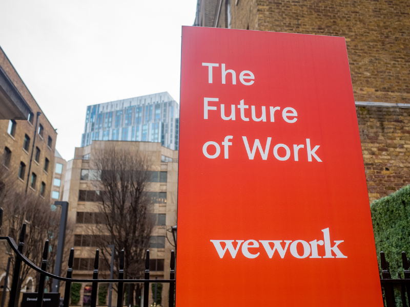 a wework banner outside their offices
